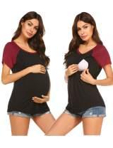 Ekouaer Womens Nursing Tops for Breastfeeding Tee Shirts Soft Double Layer Short Sleeve Maternity T-Shirts