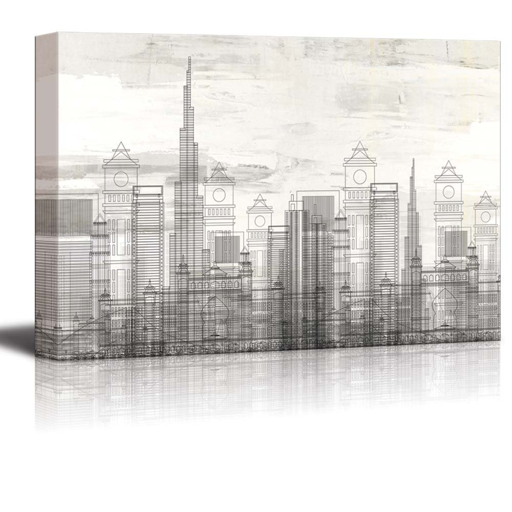 wall26 - Vector Buildings in a City with Cloudy Texture Over It - Canvas Art Home Art - 24x36 inches