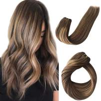 Balayage Sew in Weft Hair Weave Bundles for Women Sew in Human Hair Extensions for White Women Double Weft Full Head Medium Brown with Strawberry Blonde Highlights Thick From Top to End 80g 12 Inch