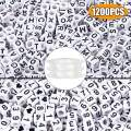 Quefe 1200pcs Beads Kit Letter Beads Acrylic Alphabet and Number Cube Beads with 2 Rolls Elastic Crystal String Cord for Jewelry Making, DIY Bracelets, Necklaces and Key Chains