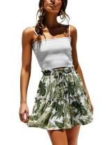 ChainJoy Womens Polka Dot High Waist Ruffle Skirt Boho Cute Pleated Flared Mini Skater Skirt