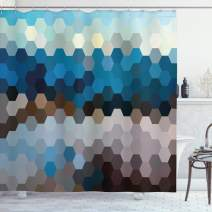 "Ambesonne Geometric Shower Curtain, Modern Hexagonal Fractal Puzzle Defocus Blurry Winter Landscape, Cloth Fabric Bathroom Decor Set with Hooks, 70"" Long, Brown Blue"