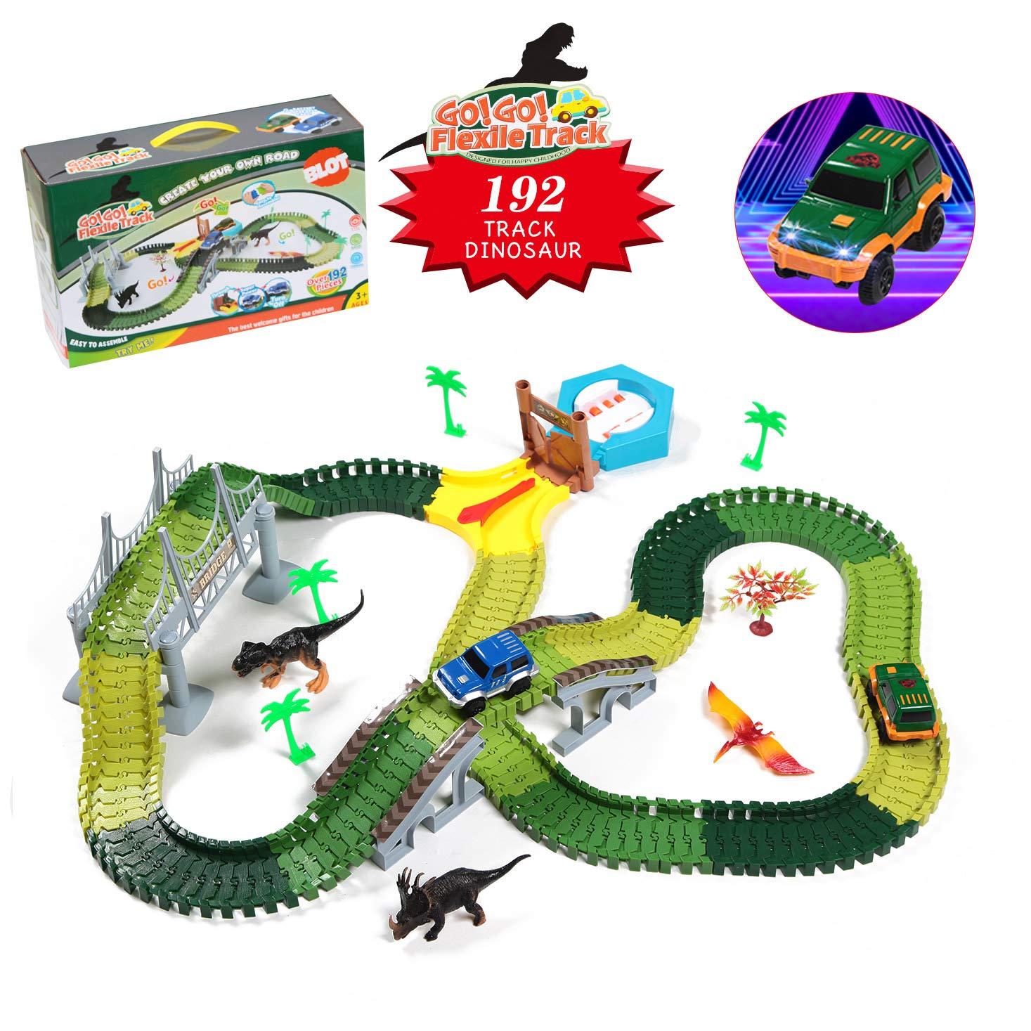Dinosaur Race Track Toys 192PCS Car Flexible Tracks Playset with Dinosaurs Vehicle Educational Toys Boys Gift for 3 4 5 6 Years Old Kids Birthday Christmas