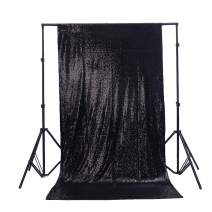 TRLYC Sparkly Black Sequin Wedding Backdrop Sequin Curtain-7FT x 7.5FT