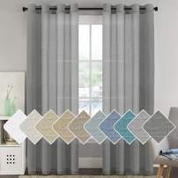 "H.VERSAILTEX Natural Linen Blended Window Curtain Panels - Light Filtering Linen Sheer Curtains Nickel Grommet for Bedroom/Living Room (Set of 2, 52"" W x 96"" L - Charcoal Grey)"