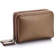 imeetu Small Card Holder, Leather Card Case and 2-zippered Wallet(Bronze)