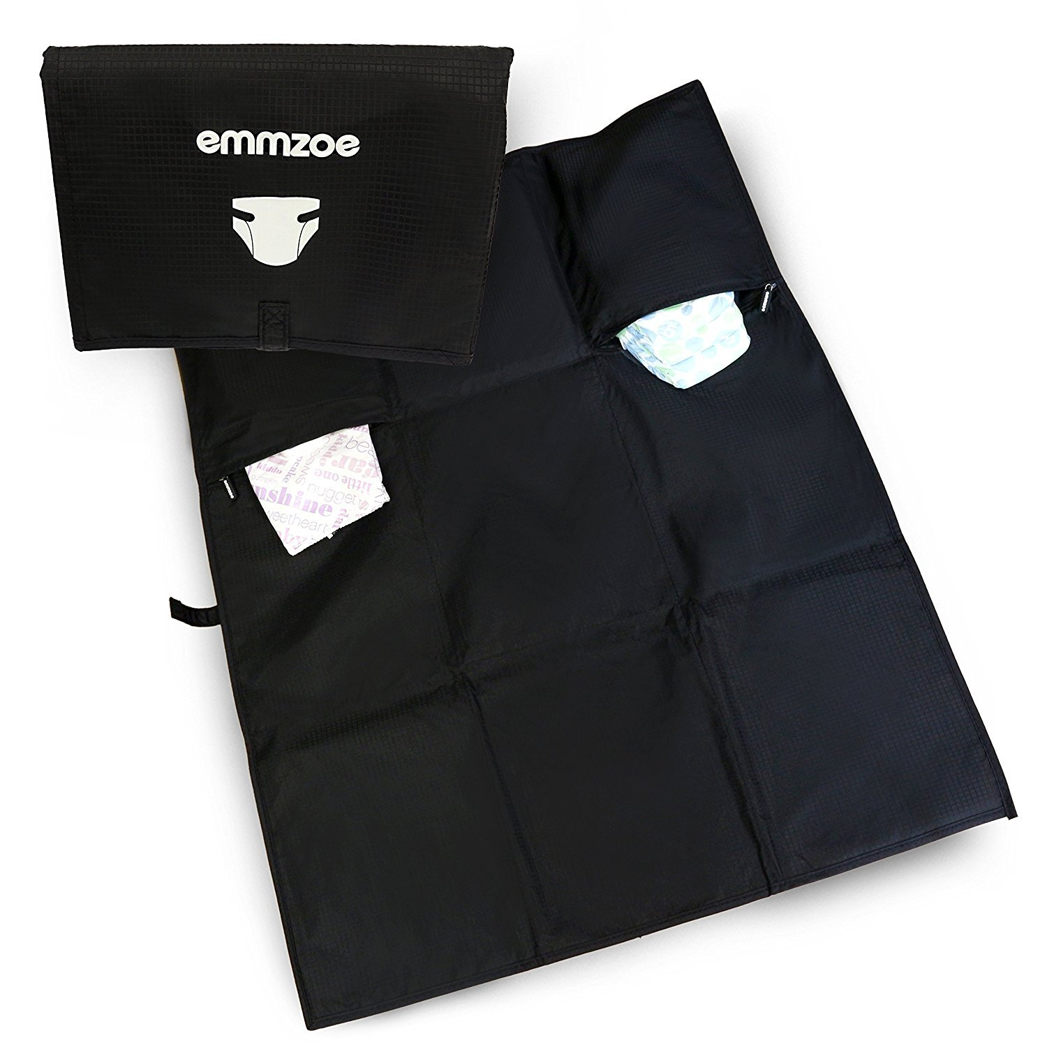 Emmzoe Diaper Changing Mat Pad Storage Pockets - Travel On-The-Go Super Lightweight, Portable, Water Resistance (Black)