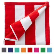 """Great Bay Home Oversized Plush Velour 100% Cotton Beach Towel. Cabana Stripe Pool Towel for Adults. (Red, 40"""" x 70"""")"""