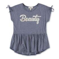 Speechless Girls' Short Sleeve Peplum Top