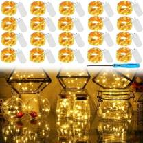 LED Fairy Light String 20 Pack Micro 20 LED Battery Operated Silver Wire String Lights Mini Waterproof Firefly Starry Lights Mason Jar Lights for DIY Party Wedding Bedroom Decor (Warm White)