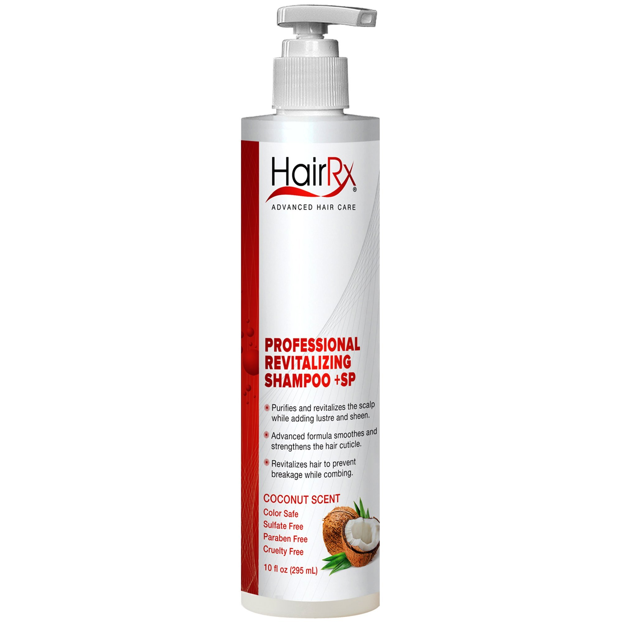 HairRx Professional Revitalizing Shampoo +SP (for Oily Scalps) with Pump, Light Lather, Coconut Scent, 10 Ounce