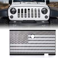 Xprite Stainless Steel Mesh Insert with Hood Lock Hole for 2007-2018 Jeep Wrangler JK JKU (Black & White America U.S Flag)