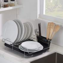 VESLA HOME Modern Steel Rust Proof Kitchen Draining Dish Drying Rack DrainBoard Black Dish Rack Kitchen Countertop, Sink Dish Drying Rack