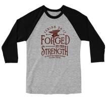 Light Source Mens Raglan T-Shirt - Forged in His Strength - Sport Grey/Black
