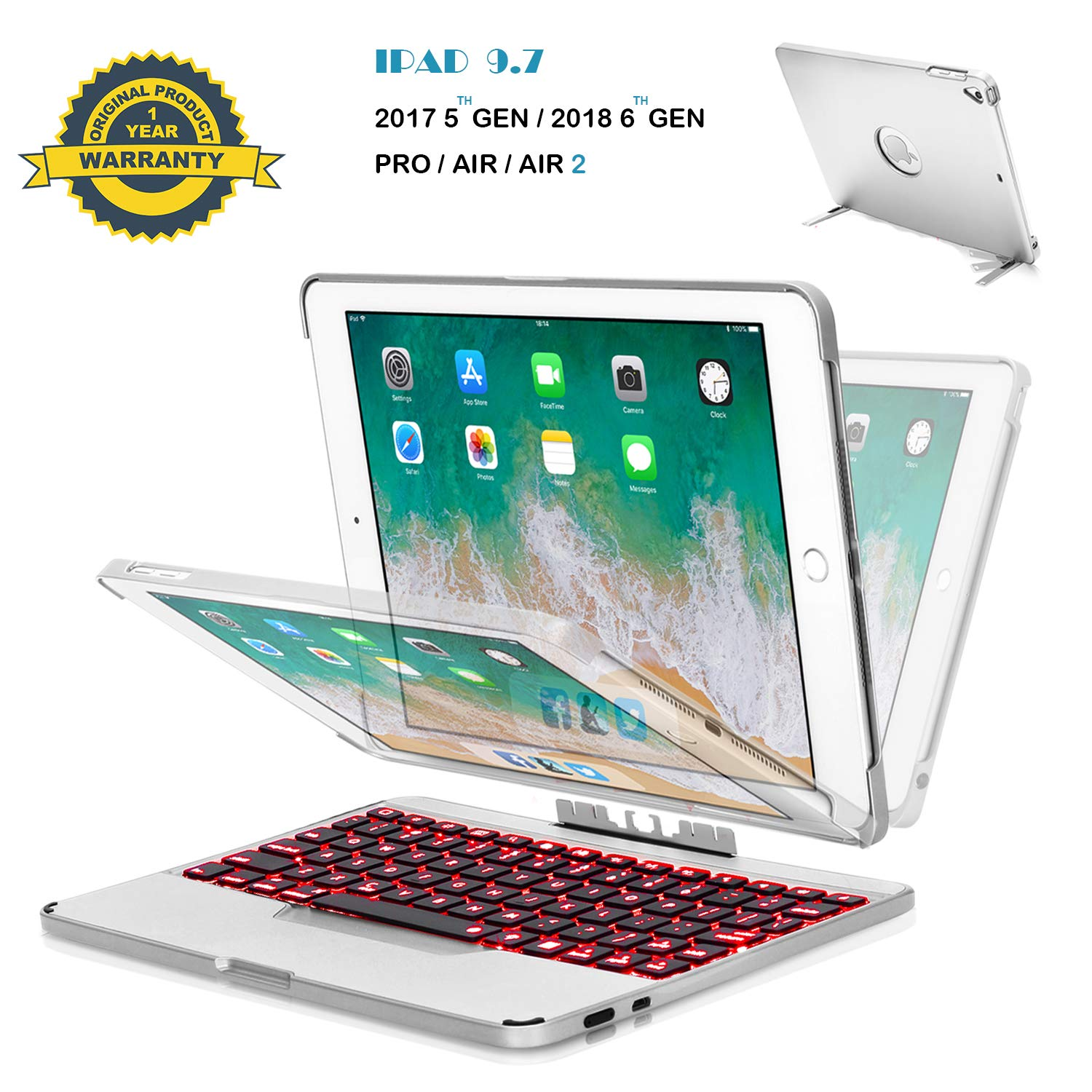 Naxxlab iPad Keyboard Case for iPad 6th/iPad 5th/Air/Air2/Pro 9.7 Detachable Aluminum Keyboard Case with 7 Colors Backlit, iPad case with Standing Bracket 2 in 1 【12 Month Warranty】