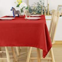 Deconovo Solid Table Cloth Christmas Tablecloth Red Wrinkle Resistant Tablecloth Waterproof Tablecloth for Banquet 54x120 Inches Red
