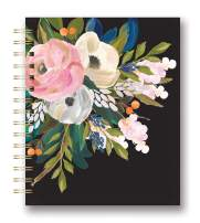 Studio Oh! Medium Tabbed Spiral Notebook, Bella Flora on Black