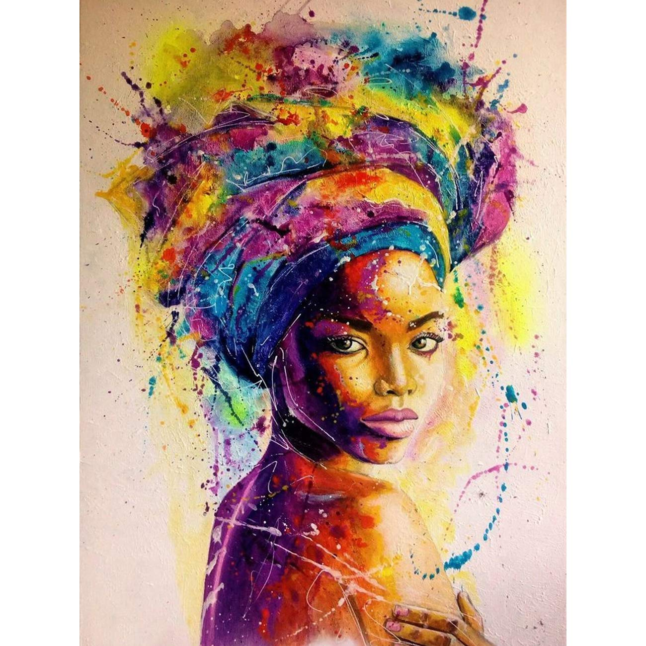 5D Diamond Painting Watercolor Paintings of African Women Full Drill by Number Kits for Adults Kids, SKRYUIE DIY Rhinestone Pasted Paint with Diamond Set Arts Craft Decorations (12x16inch)