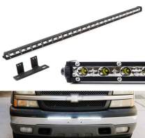 iJDMTOY Lower Bumper Mount 32-Inch LED Ultra Slim Light Bar Compatible With Chevy Silverado 1500 2500 3500 Avalanche, Includes 90W High Power LED Lightbar & Behind Bumper Opening Area Mount Brackets