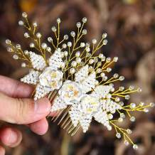 Unicra Bride Wedding Hair Comb Pearl Flowers Bridal Hair Piece Crystals Hair Accessories for Women and Girls (Gold)