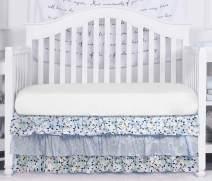 Brandream Baby Girls Floral Crib Skirt Purple 3 Tier Ruffled Nursery Bedding Skirt 100% Cotton Infant Toddler Newborn Boho Bed Skirt, 16'' Drop Christmas Baby Shower Gift