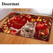 chaqlin Entrance Mat Machine Washable Nonslip Doormat Entryway Rug Merry Christmas Cat Print