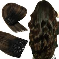 Sunny Clip in Extensions Human Hair Black Balayage Clip on Hair Extensions Natural Black Mixed Medium Brown Real Double Weft 100G 22inch 7Pcs