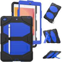 HXCASEAC iPad 7th Generation Case, Three Layers Hybrid [Shockproof] Protection Case with Built-in Stand [Pencil Holder] & [Screen Protector] for New iPad 7 Generation 10.2 Inch 2019 (Black/Blue)