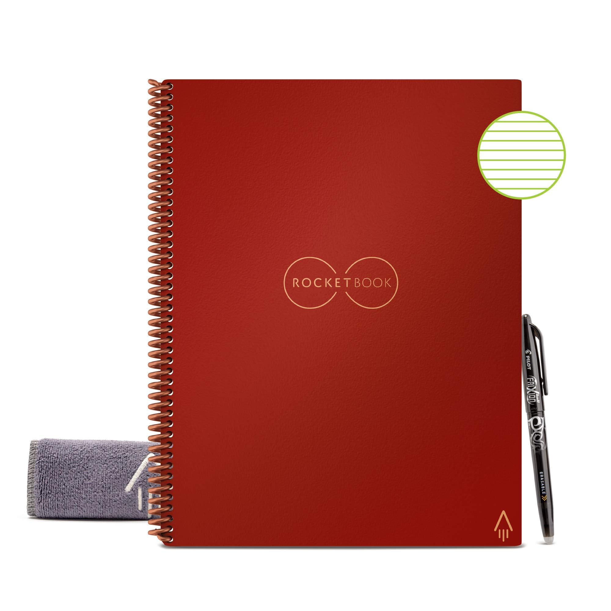 """Rocketbook Smart Reusable Notebook - Lined Eco-Friendly Notebook with 1 Pilot Frixion Pen & 1 Microfiber Cloth Included - Scarlet Sky Cover, Letter Size (8.5"""" x 11"""")"""