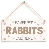 """Meijiafei Pampered Rabbits Live Here - Sweet Fun Home Accessory Gift Sign for Rabbit Owners 10""""x5"""""""