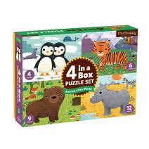 Mudpuppy Animals of The World 4-in-A-Box Puzzles, Ages 2-5, 4-Piece, 6-Piece, 9-Piece and 12-Piece Puzzles, Difficulty Level Grows with Child, Each Puzzle Measures 6 x 8