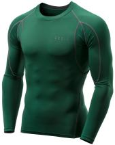 TSLA Men's Long Sleeve T-Shirt Baselayer Cool Dry Compression Top, Athletic(mud11) - Green, X-Large…