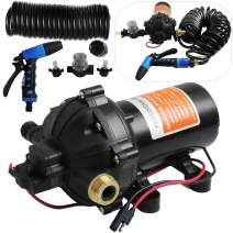 VEVOR RV Water Pump 5.3 GPM 5.5 Gallons Per Minute 12V Water Pump Automatic 70 PSI Diaphragm Pump with 25 Foot Coiled Hose Washdown Pumps for Boats Caravan Rv Marine Yacht