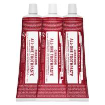 Dr. Bronner's - All-One Toothpaste (Cinnamon, 5 ounce, 3-Pack) - 70% Organic Ingredients, Natural and Effective, Fluoride-Free, SLS-Free, Helps Freshen Breath, Reduce Plaque, Whiten Teeth, Vegan