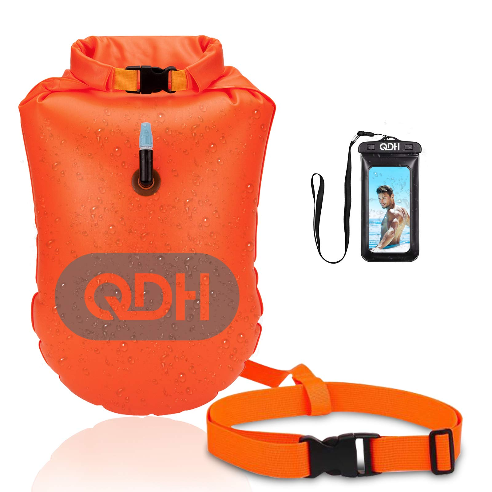 QDH Swim Buoy Swim Safety Float for Open Water and Triathlon for Safer Swim Training Floating Dry Bags Waterproof Roll Top Sack Keeps Gear Dry for Kayaking, Rafting, Boating, Swimming, Hiking, Beach