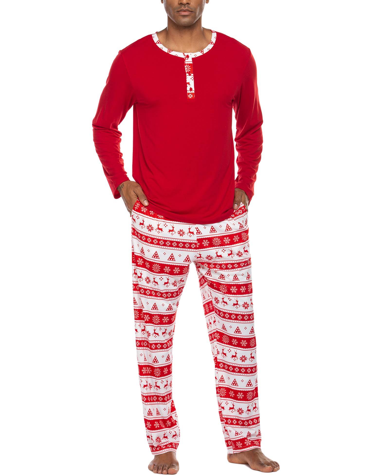 Ekouaer Men's Pajama Christmas Sleepwear Cotton Long Sleeve Lounge Holiday Printed 2 Piece pj Set