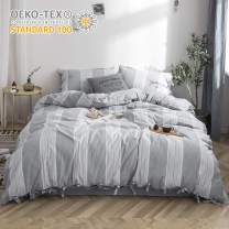 BISELINA 100% Washed Cotton Linen Like Duvet Cover Set 3pcs - Queen - Bowknot Ties Strap Design Yarn Dyed Striped Reversible Soft Cozy Bedding Set - Grey