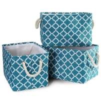 MBJERRY 3 Pack Foldable Storage Shelf Basket Bin - Large Rectangular Collapsible Organizer with Handles for Home Office Closet (Teal Lattice)