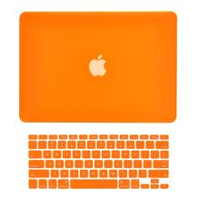 """TOP CASE - 2 in 1 Signature Bundle Rubberized Hard Case and Keyboard Cover Compatible Old Generation MacBook Pro 13"""" with DVD Drive/CD-ROM Model: A1278 - Orange"""