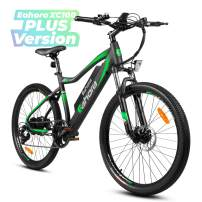 Eahora XC100 26Inch Electric Mountain Bicycle 48V 350W Cruise Control 10.4Ah Removable Battery Urban Commuter Electric Bike for Adults Power Regeneration E-Bike Color LCD Display 7 Speed, Green
