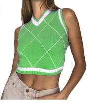 KMBANGI Women Streetwear Preppy Style Knitwear Tank Top Y2K Argyle Sweater Vest Waistcoat Clothes
