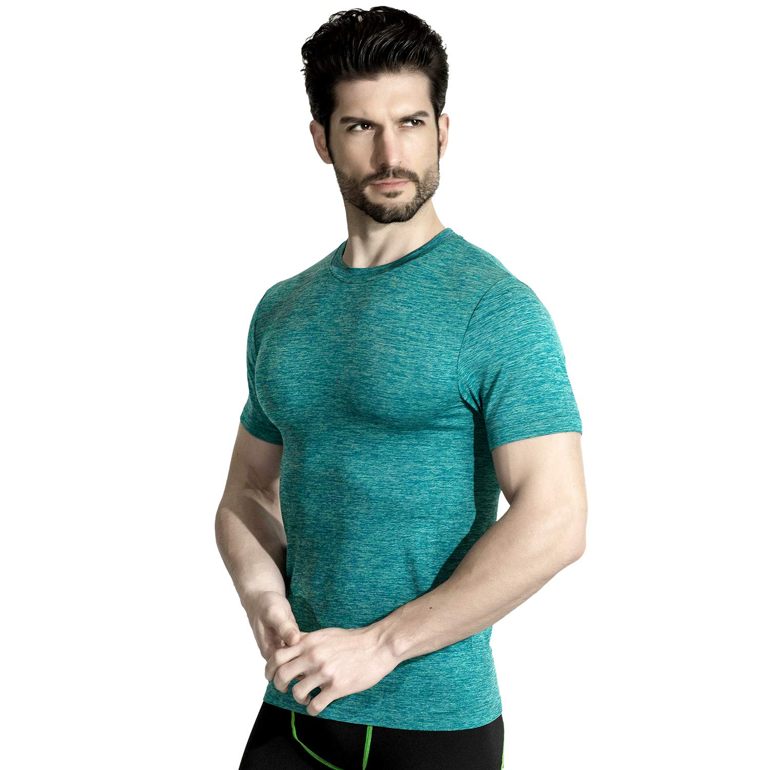 +MD Men's Short Sleeve T-Shirts Quick Dry Athletic Workout Tee for Sports Fitness