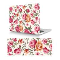 """HRH 2 in 1 Rose Flower Laptop Body Shell Protective Hard Case and Silicone Keyboard Cover for MacBook Newest Air 13"""" Retina Display fit Fingerprint Touch ID (Model A1932,2018 Release)"""