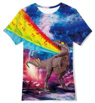 Loveternal Young Skateboarding Dinosaur Tee Shirts for Kids Cute Motley Color Ugly Shirts Big Boys O-Neck Awesome Schoolchild Homewear T Shirts for Teen Girl 10-12 Years