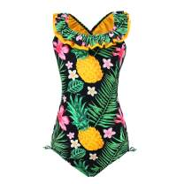 FBA qyqkfly Polka Dot Girls Kids Bathing Suits Adjustable Swimsuits
