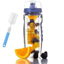 Clean Skin Club Water Bottle Infuser   32oz   Flip Top Lid   Dual Anti-Slip Grips   BPA Free   Fruit Infuser   Free Recipes and Cleaning Brush   Ideal As A Gift, for The Gym, Office and Home
