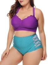 LALAGEN Womens Plus Size Strappy High Waist Bikini Swimsuit Bathing Suit M-XXXL