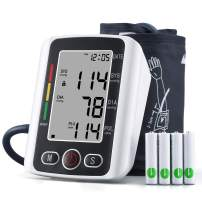 TSAI Blood Pressure Monitor, Fully Automatic Digital Upper Arm Bp Machine with LCD Display and Includes Batteries, 2x99 Memory Dual Users Mode for Home Use