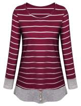 Tanst Sky Womens Casual Long Sleeve Color Block Stripe Shirt Pullover Tunic Tops