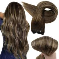 Full Shine 16 Inch Balayage Brazilian Hair Bundles Straight Hair Weft Extensions Color 2 Fading to 3 and 27 Honey Blonde Hair Wefts Remy Human Hair Weave ins 100 Gram Sew in Weft